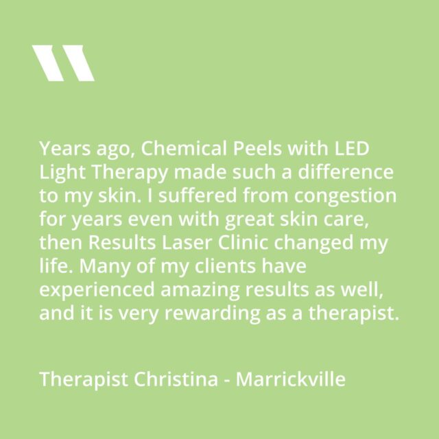 "We asked our Therapist Christina @marrickvillemetro """"If you could perform only one of our treatments, what would it be and why?""""  Chemical Peel + LED light combo $89.  Book in a complimentary consulation with our expert therapists today!"
